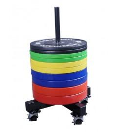 Bumper plate stacker on wheels