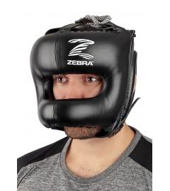Casque de boxe Pro en cuir Zebra