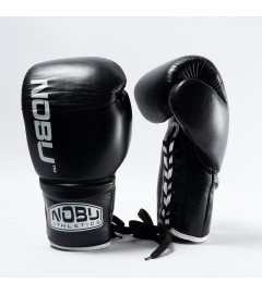 Gants de Boxe PRO avec lacets Noir/Blanc Nobu Athletics