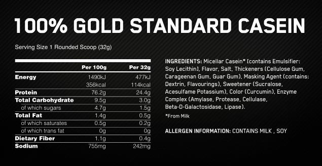 100% casein optimum nutrition
